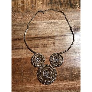 Gold Costume Jewelry Statement Trio Necklace